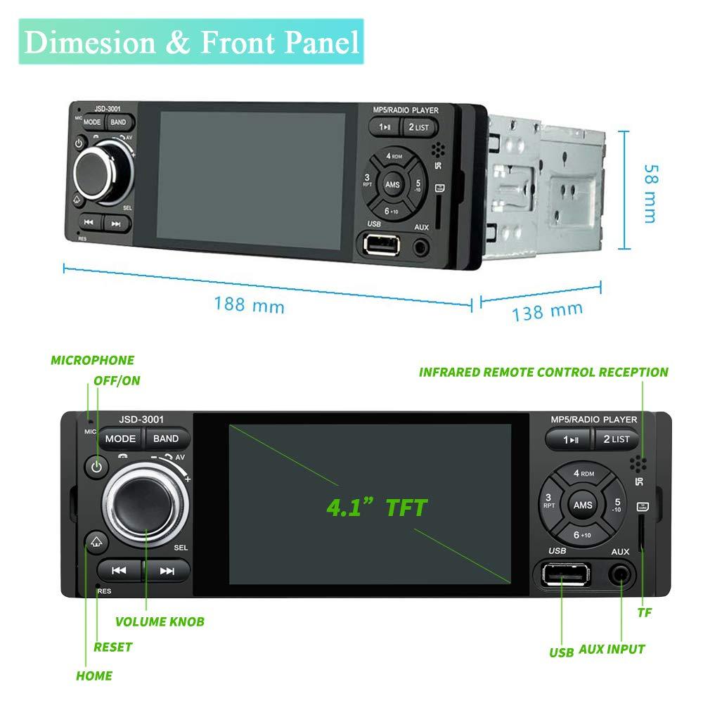 Camecho Single DIN Bluetooth Car Radio 4  Receptor de Radio FM est/éreo con Pantalla t/áctil capacitiva con USB//AUX-in//Tarjeta SD Puerto Android Tel/éfono Enlace Espejo C/ámara Trasera