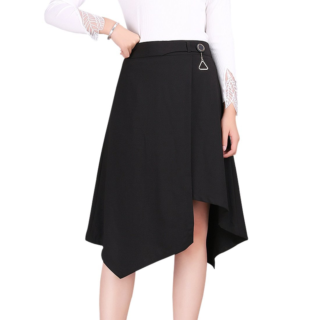 Wincolor Women's Irregular A-line Flared High Waisted Midi Long Skirt Black