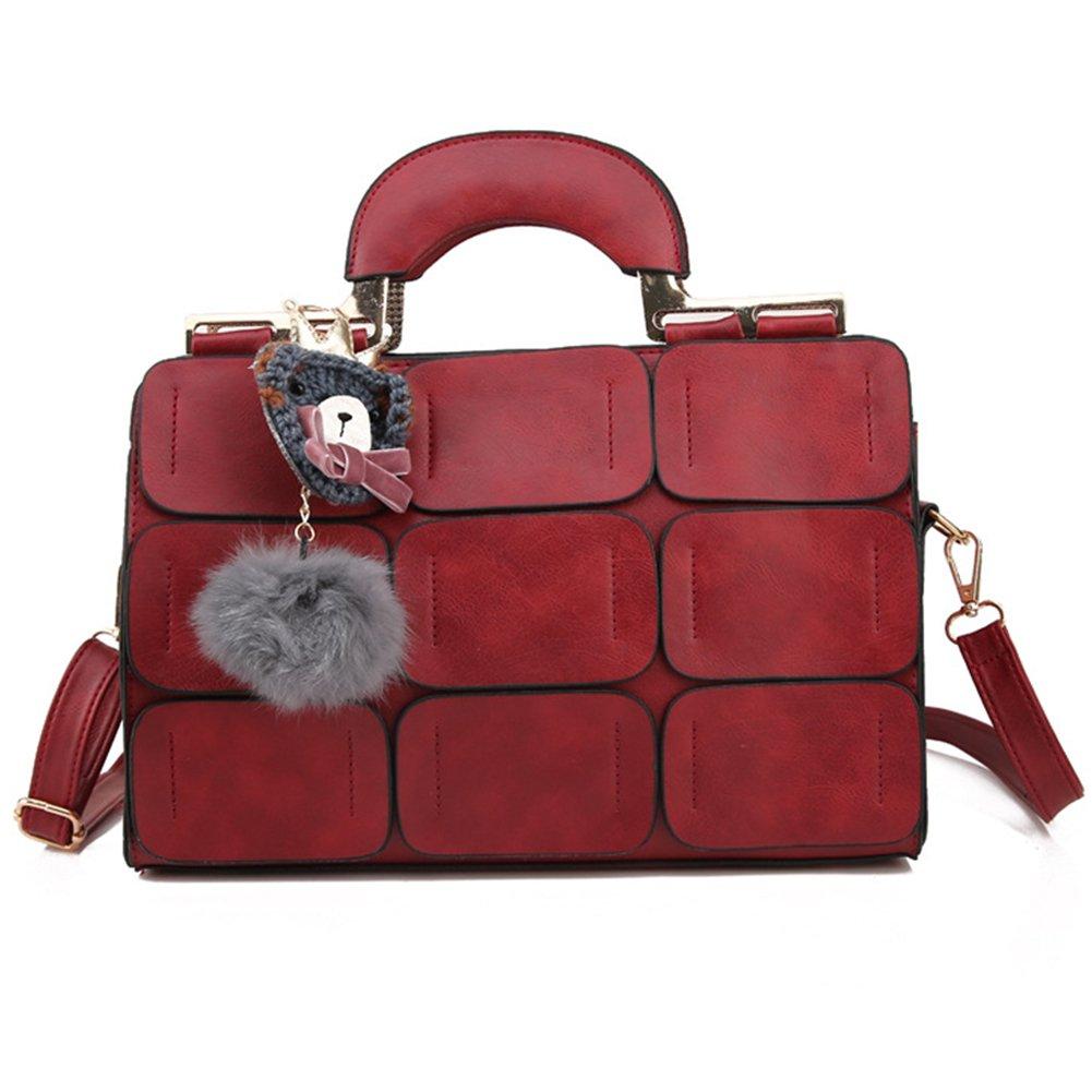 Bangle009 Clearance Sale Boston Style Women Tote Shoulder Crossbody Bag Nine Patch Messenger Handbag Black