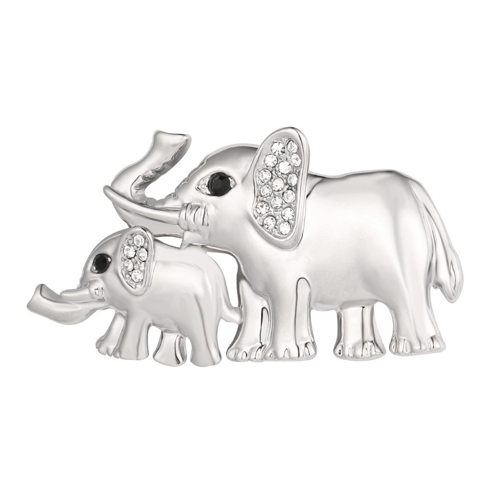 Lapel Pin Women Accessories Platinum Plated Rhinestones Ear Elephant Brooch