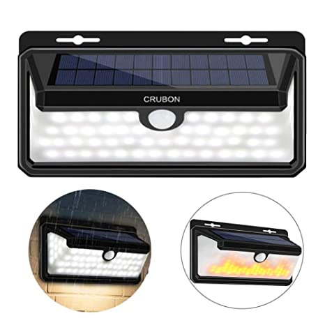 CRUBON Luz solar exterior, 158 LED sensible a movimientos e impermeable. Ángulo de 270
