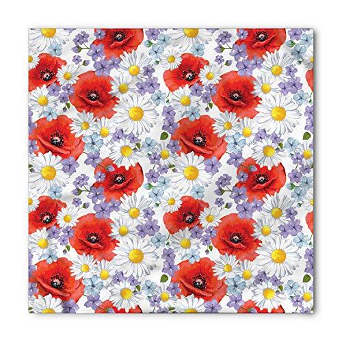 Flower Bandana, Poppy and Daisy Flower, Unisex Head and Neck Tie M 100cmx100cm