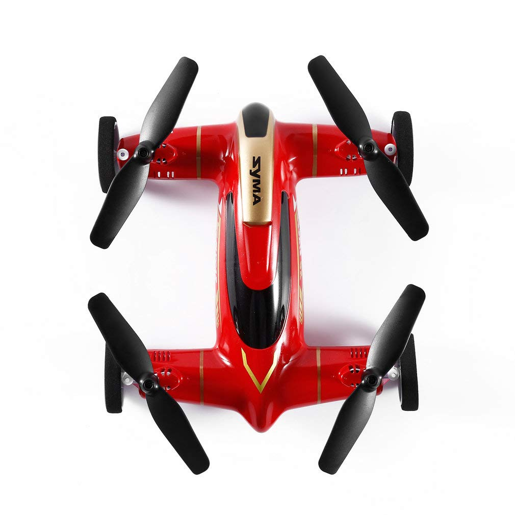FairytaleMM Syma X9 Fly Car Fly & Drive 2,4 Ghz 4CH 6-achsen-gyro RC Quadcopter Drone Auto (Farbe: rot)