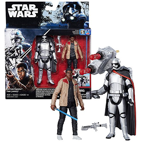 Star Wars Year 2016 The Force Awakens 2 Pack 4 Inch Tall Figure Set - CAPTAIN PHASMA and FINN (JAKKU) with Blaster, Missile Launcher and Lightsaber