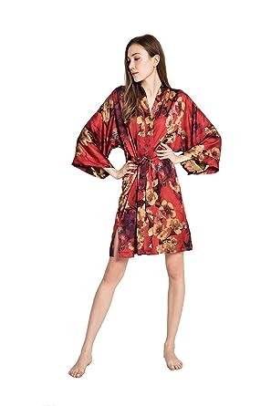 b98f83e97 Old Shanghai Women's Kimono Robe Short - Watercolor Floral, Azumi -Red