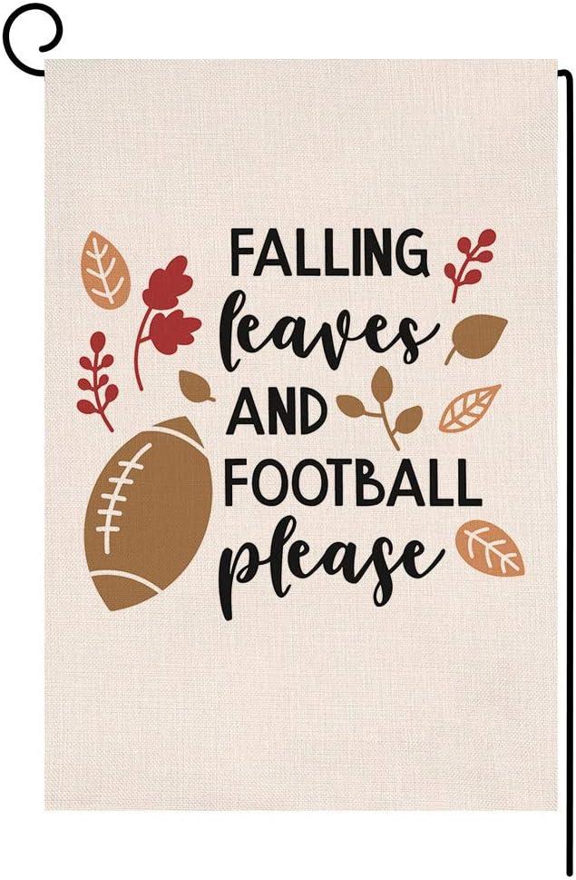 Fall Football Garden Flag Vertical Double Sided Farmhouse Autumn Burlap Yard Outdoor Decor 12.5 x 18 Inches (Falling Leaves and Football Please)