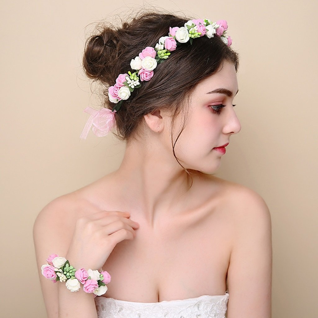 Wreath Flower, Headband Flower Garland Handmade Wedding Bride Party Ribbon Headband Wristband Hairband -Purple (Color : Pink)