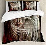 Fantasy Decor Queen Size Duvet Cover Set by Ambesonne, Cyborg Angel Girl Warrior with Sword in Gothic Ancient Historical Architecture, Decorative 3 Piece Bedding Set with 2 Pillow Shams, Brown White