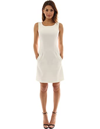 PattyBoutik Women s Sleeveless Pocket A-Line Sheath Dress (Off-White XL) at  Amazon Women s Clothing store  1afe9df105