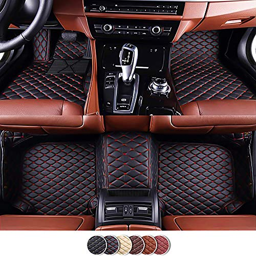 Veeleo 6 Colors Car Floor Mats for Alfa Romeo Stelvio 2017-2019 Artificial Leather Waterproof 3D Carpets (Black with red Stitching)