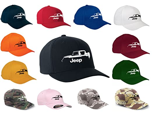 39b3027e Jeep Wrangler 4x4 Off Road Classic Outline Design Flexfit hat cap  small/medium black