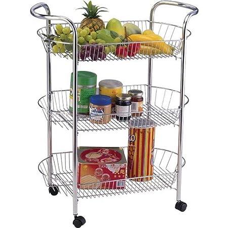 Keraiz 00I-HRP-UTK - Carrito de cocina con 3 niveles para frutas y verduras, color plateado: Amazon.es: Bricolaje y herramientas
