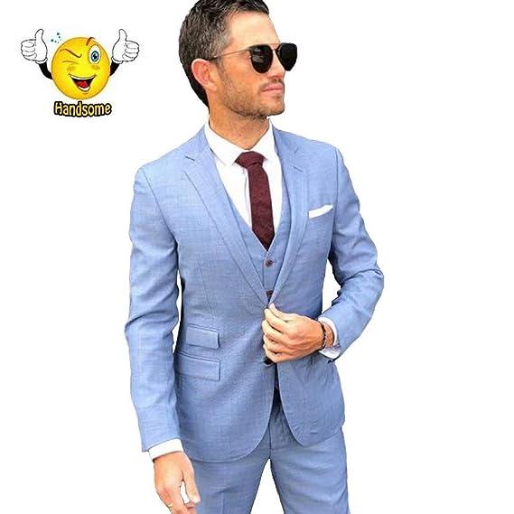 Amazon.com: Traje de lino azul retro para hombre casual ...