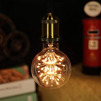 Edison bombilla g95 luz decorativa estrellada antigua lámpara de mesa led lámpara de mesa bombilla amarilla cálida 220v @ 3_220V_3W_B22 bayoneta: Amazon.es: Iluminación