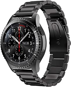 Gear S3 Watch Band, Wollpo 22mm Solid Stainless Steel Replacement Bracelet Smart Watch Wristband for Samsung Gear S3 Frontier/Classic Smartwatch/46mm Galaxy Watch (Stainless Steel Black)