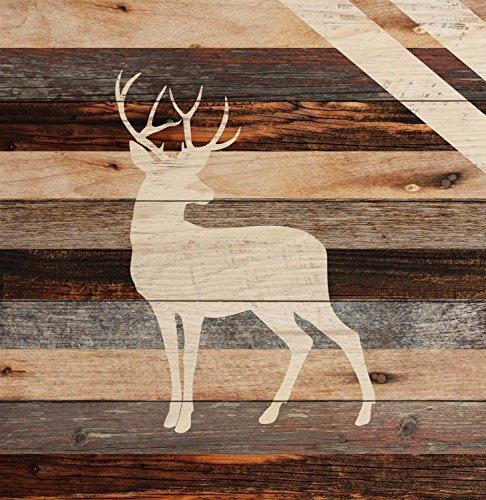 CELYCASY Standing Buck Deer Rustic 18 x 17 Wood Pallet Wall Art Sign Plaque