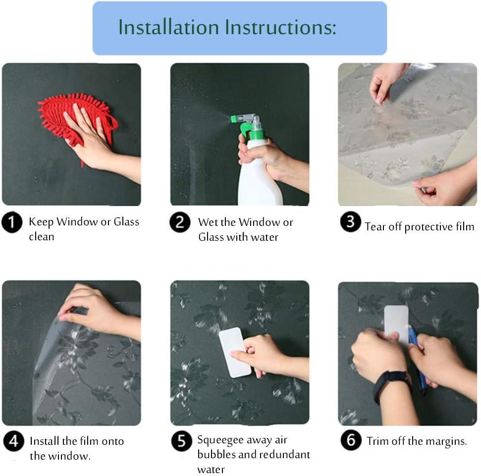 -A 12x118inch 3r/é Fermeture Statique Intimit/é Vitre Stickers pour Salon Salle De Bain D/écoratif Film Electrostatique-30x300cm Anti UV Film Fenetre