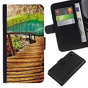 JackGot ( Natura Bella Forrest Verde 9 ) Sony Xperia Z3 D6603 la tarjeta de Crédito Slots PU Funda de cuero Monedero caso cubierta de piel