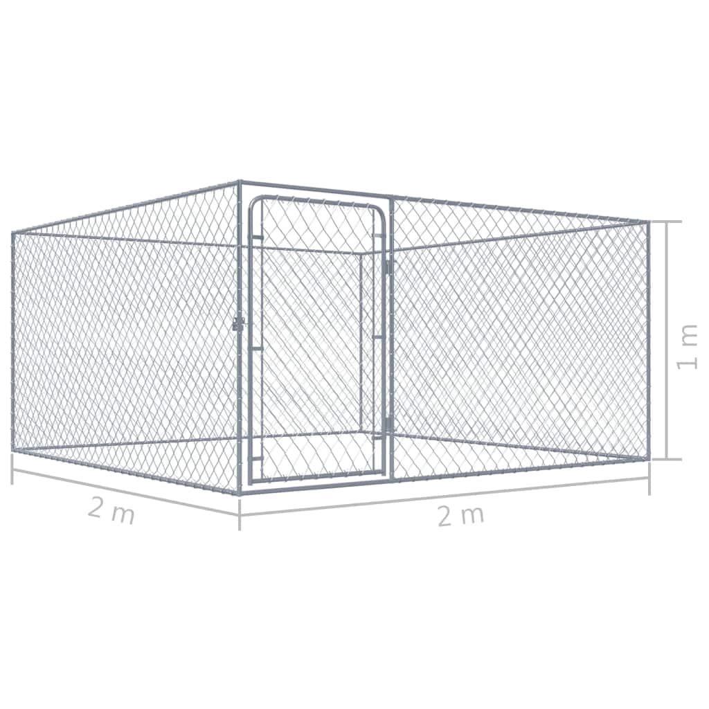 vidaXL Perrera de Exterior de Acero Galvanizado 2x2 m Caseta Mascotas Patio: Amazon.es: Productos para mascotas