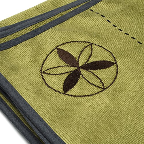 SALE! Thick Green Premium Ylayaa Hot Yoga Towel with Guided Alignment Lines, 26 x72 Inches, 100% Microfiber