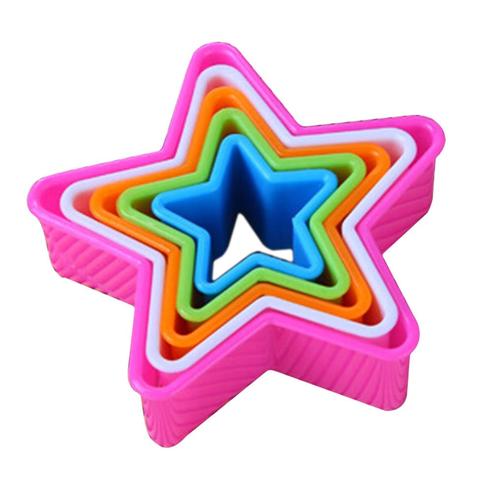 Gemini_mall® Colourful Plastic Plain and Fluted Round Pastry/Cookie Cutters, Multi-Colour, Set of 5