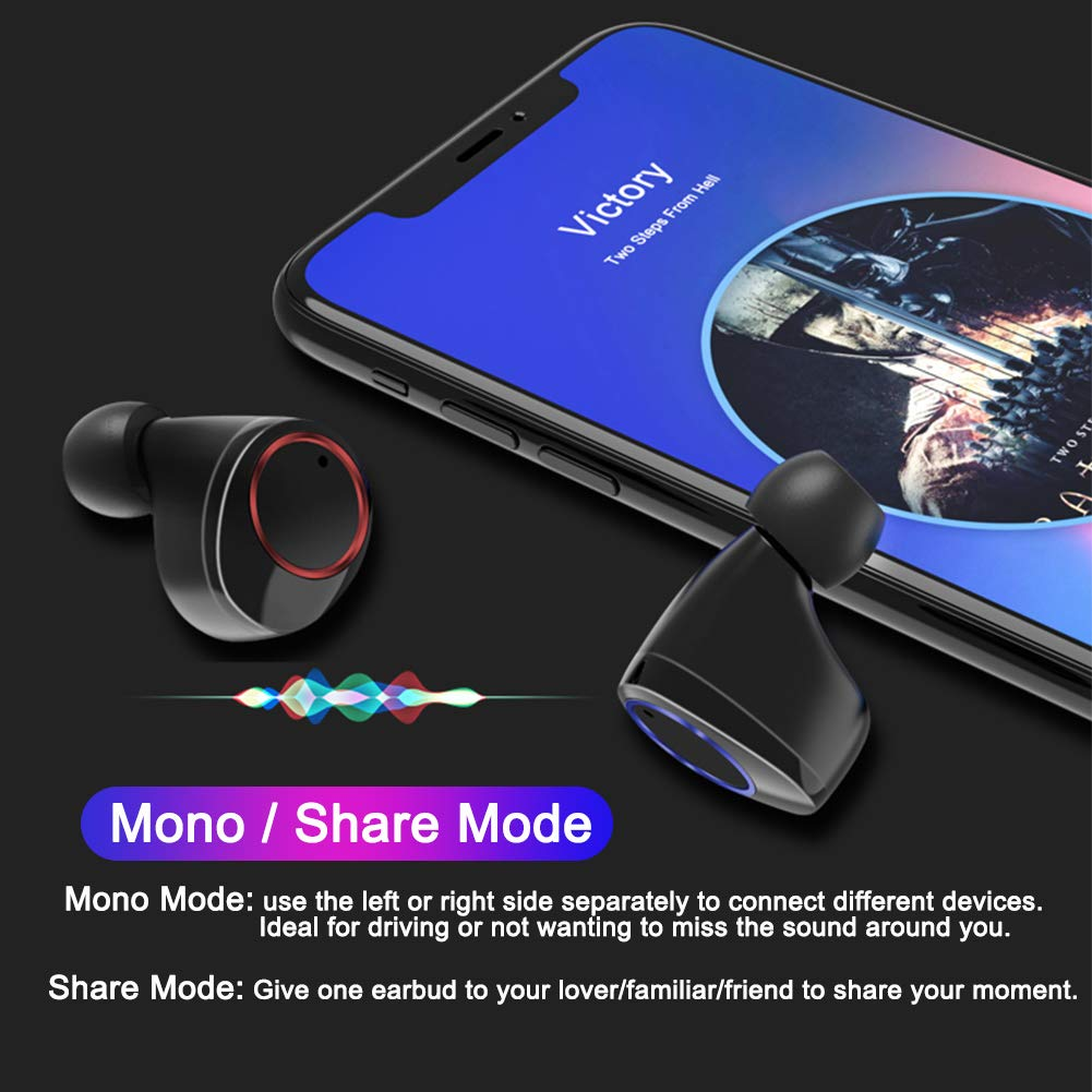 Wireless Earbuds, TWS Bluetooth 5.0 Earphone Smart Noise Cancelling 3D Stereo HIFI Sound Headset 2600mAh Waterproof wireless Headphones with Microphone (black)
