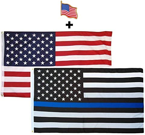 3/'x5/' Thin Blue Line Police Lives Matter Law Enforcement American USA US Flag