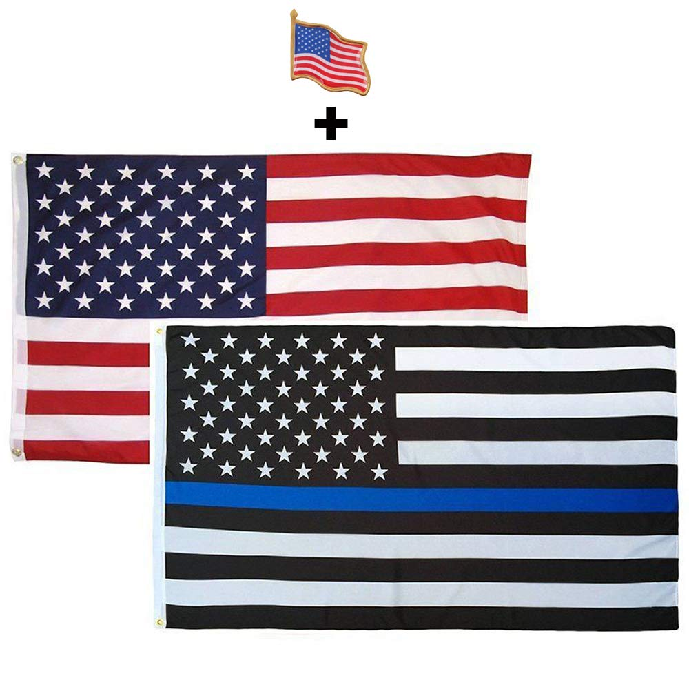 3x5 FT THIN BLUE LINE FLAG POLICE LAW ENFORCEMENT SUPPORT MADE IN THE U.S.A.