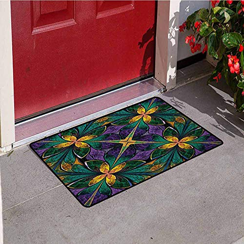 - Jinguizi Fractal Inlet Outdoor Door mat Antique Ornate Symmetric Stained Glass Mosaic Window Style Floral Tile Pattern Catch dust Snow and mud W15.7 x L23.6 Inch Green Purple