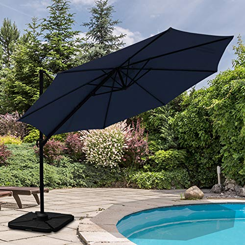 Patiorama Commerical 10 Feet Aluminum Offset Cantilever Outdoor Patio Umbrella with Steel Cross Base, 250g/sqm Polyester, Dark Blue ()