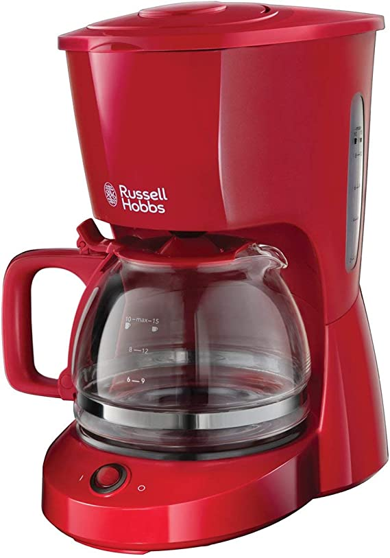 Russell Hobbs Textures - Cafetera de Goteo (Jarra Cafetera para 10 Tazas, Plástico Mate, 975W, Rojo) - ref. 22611-56: Amazon.es: Hogar