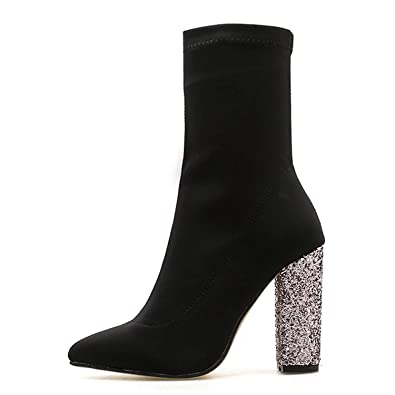 Amazon.com | AMAZING AMAZING 2018 Stretch Fabric Ankle Boots Round Toe Bling Heel Woman Chelsea Boots | Ankle & Bootie