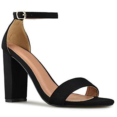 0a2d4bbd620 Women's Comfort Open Toe Ankle Strap Chunky Block High Heel Pump Sandals, Black  Suede,