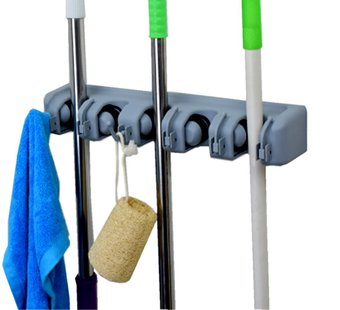 DGBC Mop and Broom Holder, 5 position with 6 hooks garage storage Holds up to 11 Tools,Effortless Installation (Screws Included). (5 position 6 hooks)