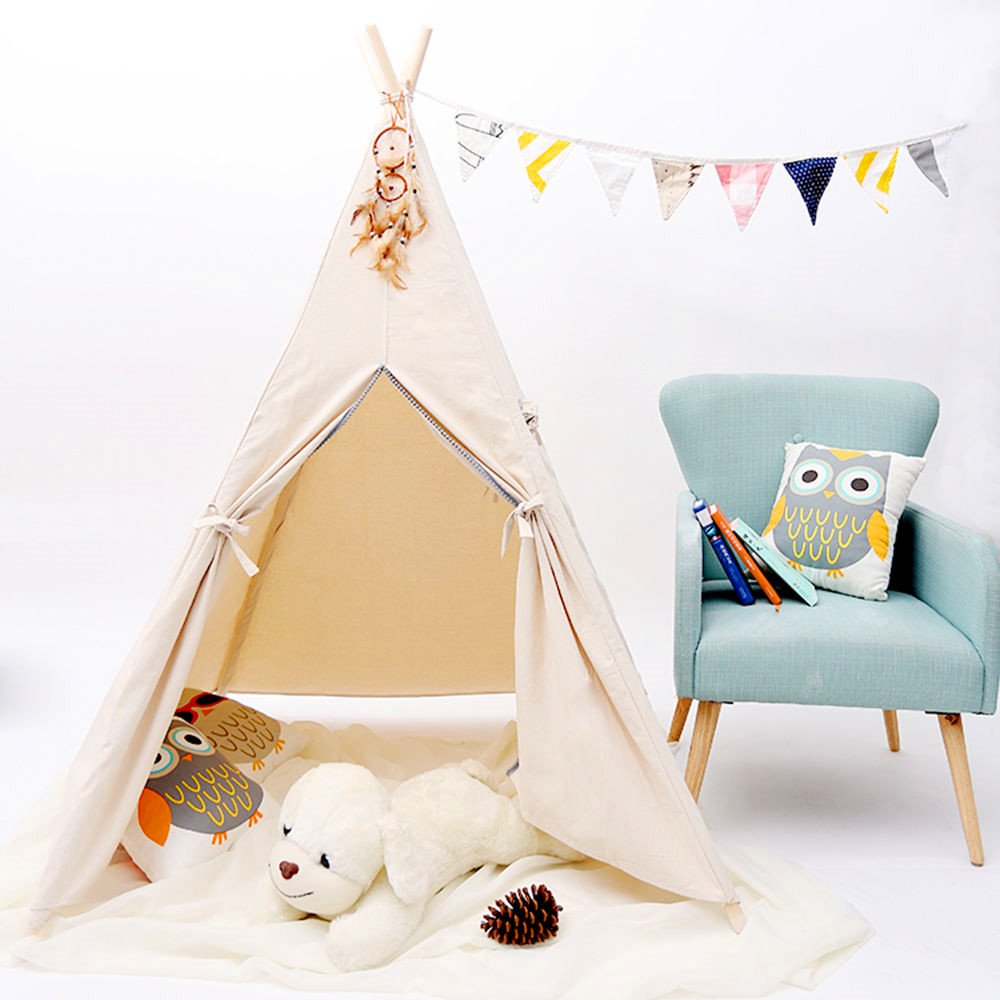 Soulstore Kids Teepee Tent,Play Tent for Children Gift Outdoor and Indoor Playhouse Decoration (With Flag &Without Dream Catche)
