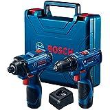 Combo Bosch 12V - Chave de Impacto GDR 120-LI + Parafusadeira e Furadeira de Impacto GSB 120-LI, 2 Baterias, Carregador BIVOL