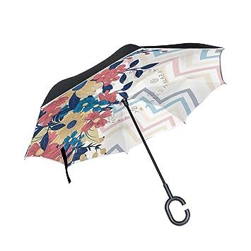 MAILIM Paraguas Reversible para Coche, Diseño Floral, Color Azul