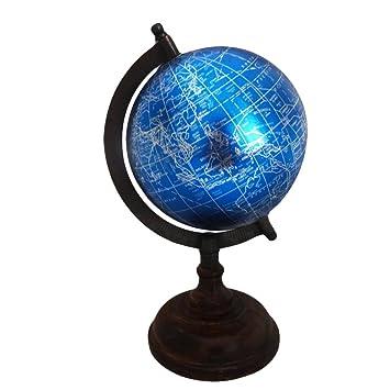Indian Antike Globen Hauptdekor Tischplatte Geographie Erde Rotierenden Globus Weltkarte Hohen Holz Stehen Vintage Stil