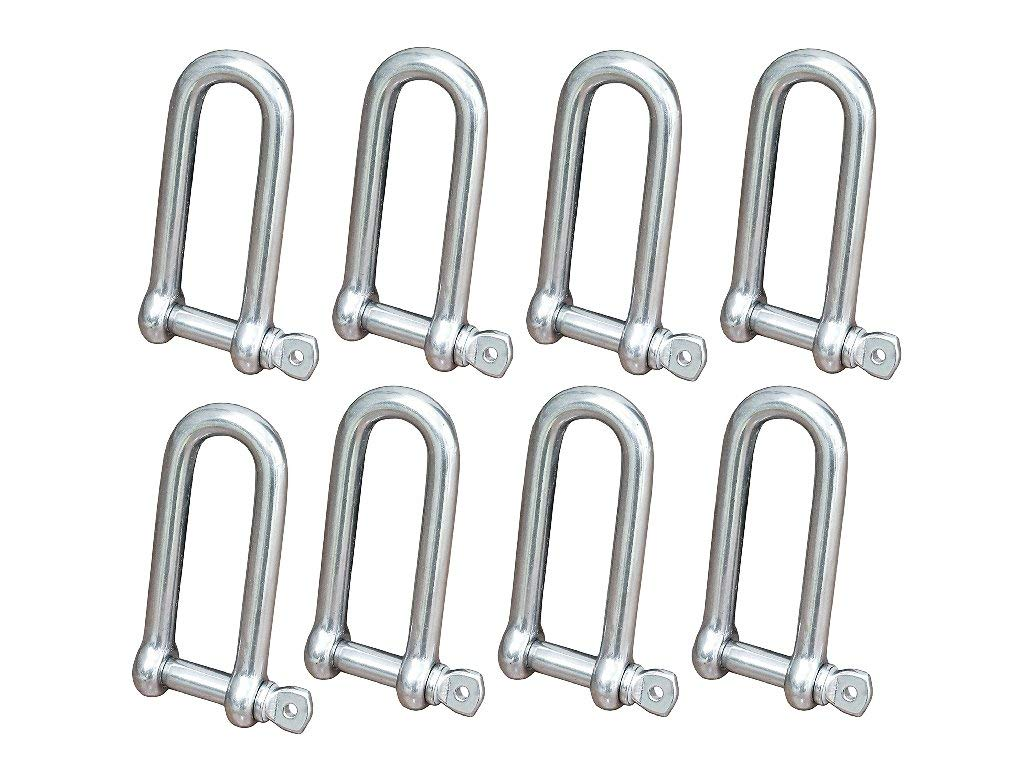 Five Oceans Stainless Long D Shackle w/Captive Pin 5/32'' (Set of 8) FO-419-M8 by Five Oceans