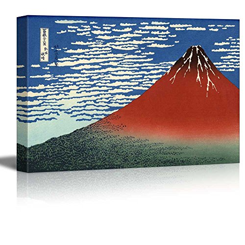 Katsushika Hokusai Mount Fuji - Wall26 -Red Fuji (Mount Fuji in Clear Weather with a Southerly Breeze) by Katsushika Hokusai - Canvas Print Wall Art Famous Painting Reproduction - 12