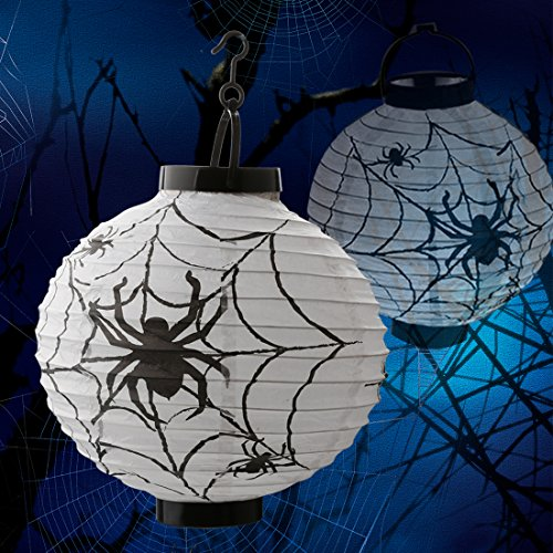 A-SZCXTOP Halloween Pumpkin Lantern Jack-O-Lantern Paper Lamp with LED Light Hanging Spider Lantern for Hallowmas Party (Spider Dress Up Ideas)