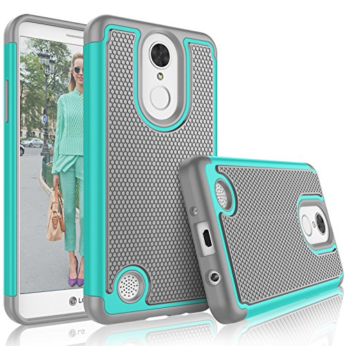 Tekcoo LG Phoenix 3 Case, Tekcoo LG Fortune/LG LV1/Risio 2/K4 2017 Cute Case, [Tmajor] Shock Absorbing [Turquoise] Rubber Silicone Plastic Scratch Resistant Defender Bumper Hard Cases Cover