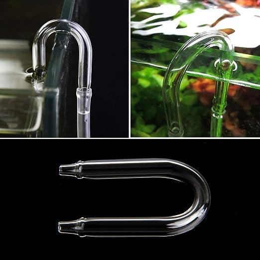 XISAOK Aquarium Co2 System Diffuser Check Valve U Shaped Glass Tube Bend Accessory DIY