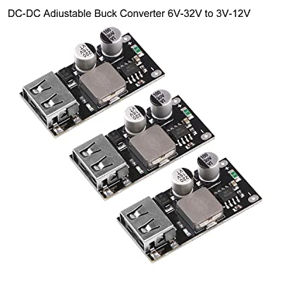 MakerHawk 3pcs DC-DC Adjustable Buck Converter 6V-32V(12 24V) Power Buck Module to QC3.0 Fast Charging Single USB Step Down Power Supply Converter for IP-Hone Hua-wei FCP: Home Audio & Theater