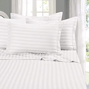 Elegant Comfort Best, Softest, Coziest 6-Piece Sheet Sets! - 1500 Thread Count Egyptian Quality Luxurious Wrinkle Resistant 6-Piece Damask Stripe Bed Sheet Set, King White