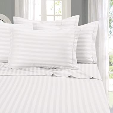 Elegant Comfort Best, Softest, Coziest Sets-1500 Thread Count Egyptian Quality Luxurious Wrinkle Resistant 6-Piece Damask Stripe Bed Sheet Set, Queen, White