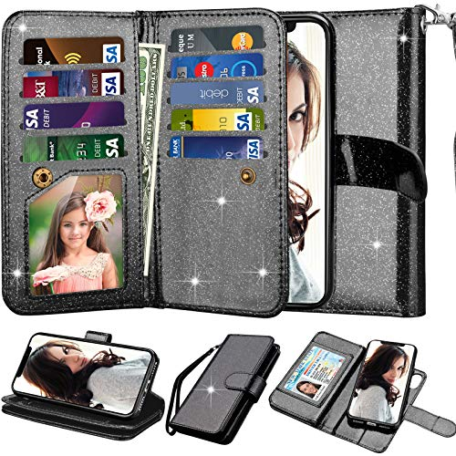 Njjex iPhone X Case, for iPhone XS Wallet Case, Shiny Shimmering Powder PU Leather [9 Card Slots] ID Credit Folio Flip [Magnetic Detachable] Kickstand Phone Cover for iPhone X 2017/ XS 2018 - Black