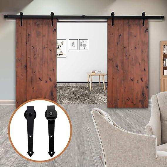 LWZH 8.2FT/250cm Herraje para Puerta Corredera Kit de Accesorios para Puertas Correderas Dobles,Negro A-Forma: Amazon.es: Bricolaje y herramientas