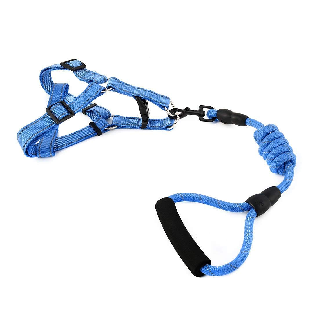 1Pc XL, bluee   Nylon Travel Walking Adjustable Reflective Leash Rope Dog Pet Neck Belt Harness