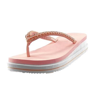 Angkorly Damen Schuhe Flip-Flops Sandalen - Slip-on - Plateauschuhe - Perle - Strass - Bicolor Keilabsatz High Heel 3.5 cm - Weiß 86-C016 T 36 tduvVE